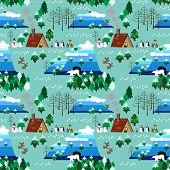 Christmas Theme Landscape Seamless Pattern