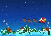 Christmas Theme Santa Claus Reindeer Over Hills
