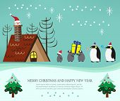 Christmas Penguin Family And Santa