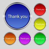 Thank You Sign Icon. Gratitude Symbol. Circles And Rounded Squares 12 Buttons. Vector
