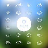 Simple Line Weather Icon Set On Blurred Landscape Background. Vector Illustration