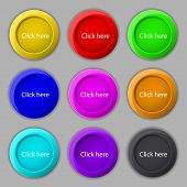 Click Here Sign Icon. Press Button. Set Of Colored Buttons. Vector