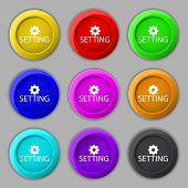 Cog Settings Sign Icon. Cogwheel Gear Mechanism Symbol. Set Of Colored Buttons. Vector