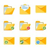 Flat Style Icon Set For Web And Mobile Application. Basic Icons, Mail, Folder, Envelope