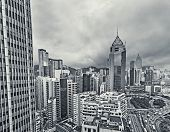 Cityscape of Hong Kong with high buildings in daytime, high angle view.