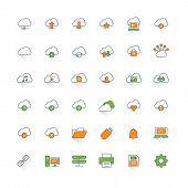 Cloud Computing Flat Design Icon Set. Cloud, Connection, Computer, Folder, Settings