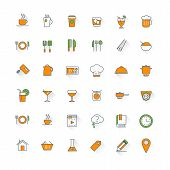 Food And Restaurant Flat Design Icon Set. Food, Beverages, Cooking, Kitchenware, Cutlery