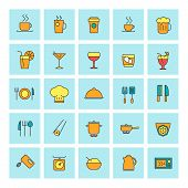 Food And Beverages. Vector Icon Set In Flat Design Style. For Web Site Design And Mobile Apps