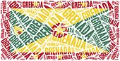 National Flag Of Grenada. Word Cloud Illustration.