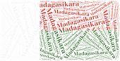 National Flag Of Madagascar. Word Cloud Illustration.