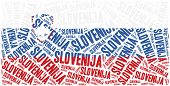 National Flag Of Slovenia. Word Cloud Illustration.