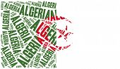 National Flag Of Algeria. Word Cloud Illustration.