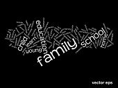 Vector concept or conceptual education abstract word cloud on black background