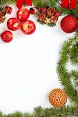 Christmas Decoration With Red Apples Ornamentals And Green Fir Tree