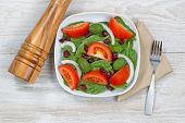 Salad With Wooden Pepper Mill