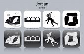 Landmarks of Jordan. Set of monochrome icons. Editable vector illustration.