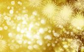 Abstract holiday background with New Year's fireworks and copy space