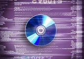 One cd disc on purple digital background