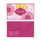 Vector pink field flowers horizontal frame pattern business cards set