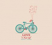 valentines poster with balloons bicycle card