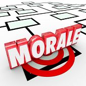 Morale 3d Word on an organization chart to illustrate employee attitude, work ethic and ambition to perform a job, achieve a task or complete a project with great results