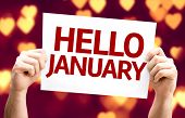 Hello January card with heart bokeh background