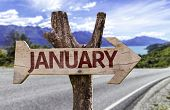January sign with road on background