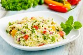 stock photo of tabouleh  - tabbouleh made of couscous and various vegetables - JPG