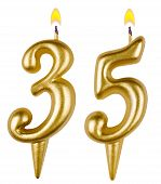 Birthday Candles Number Thirty Five Isolated