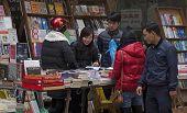 Vietnamese people buying books