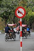 Close up photo of no horn sign on Hanoi street, Vietnam.