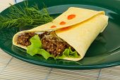 image of shawarma  - Shawarma with meat salad leaves and spices - JPG