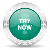 try now green icon, christmas button