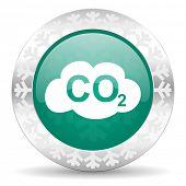 carbon dioxide green icon, christmas button, co2 sign