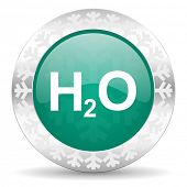 water green icon, christmas button, h2o sign