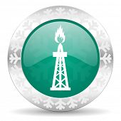 gas green icon, christmas button, oil sign