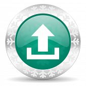 upload green icon, christmas button