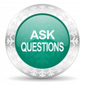 ask questions green icon, christmas button