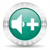 stock photo of christmas song  - speaker volume green icon - JPG