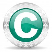 copyright green icon, christmas button