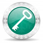 key green icon, christmas button, secure symbol