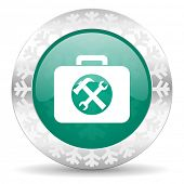 toolkit green icon, christmas button, service sign