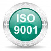 iso 9001 green icon, christmas button