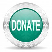 donate green icon, christmas button