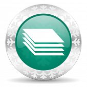 layers green icon, christmas button, gages sign