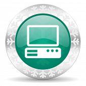 computer green icon, christmas button, pc sign