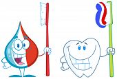 Toothpaste And Tooth With Toothbrush Cartoon Character. Collection Set