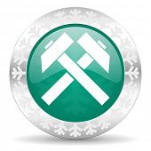 mining green icon, christmas button