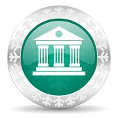 museum green icon, christmas button