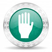 stop green icon, christmas button, hand sign